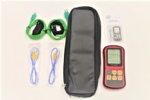 HVAC Thermometer Kit, Two Velcro Pipe Clamp Probes, Dual Input Thermometer and Case